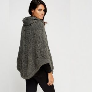 Sweaters - Cable Knit Gray Poncho Warm Cowl Neck